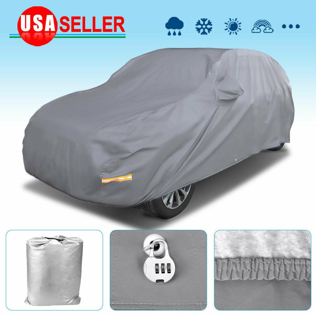 Fit Cars up to 200 inches Car Cover, Full SUV Car Cover Gray Waterproof Breathable Sun UV Rain Dust Resistant - YITAMotor