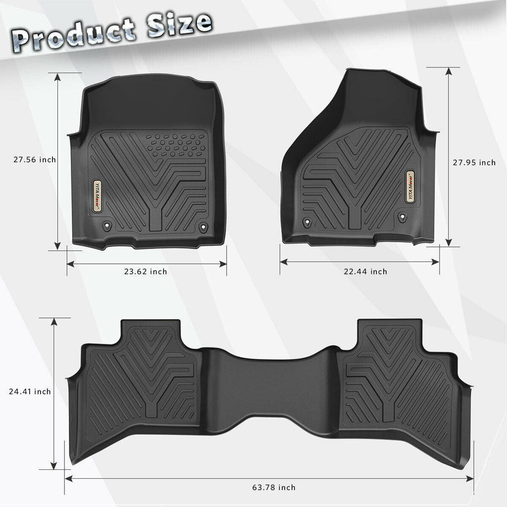 Floor Mats Floor Liners for 2013-2018 Dodge Ram 1500 Quad Cab Only, 1st & 2nd Row All Weather Protection - YITAMotor