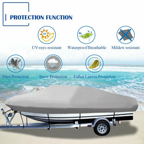 20-22ft Boat Cover Heavy Duty Waterproof Trailable Fishing Ski V-Hull Bass Beam - YITAMotor