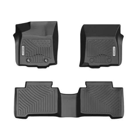 Floor Mats for 2016-2017 Toyota Tacoma Double Cab, 1st and 2nd Row Heavy Duty Rubber - YITAMotor