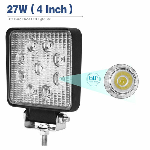 "10Pcs 4"" 27W Led Work Light Bar Flood Lamp Off Road Driving Fog Light 12V 24V - YITAMotor"