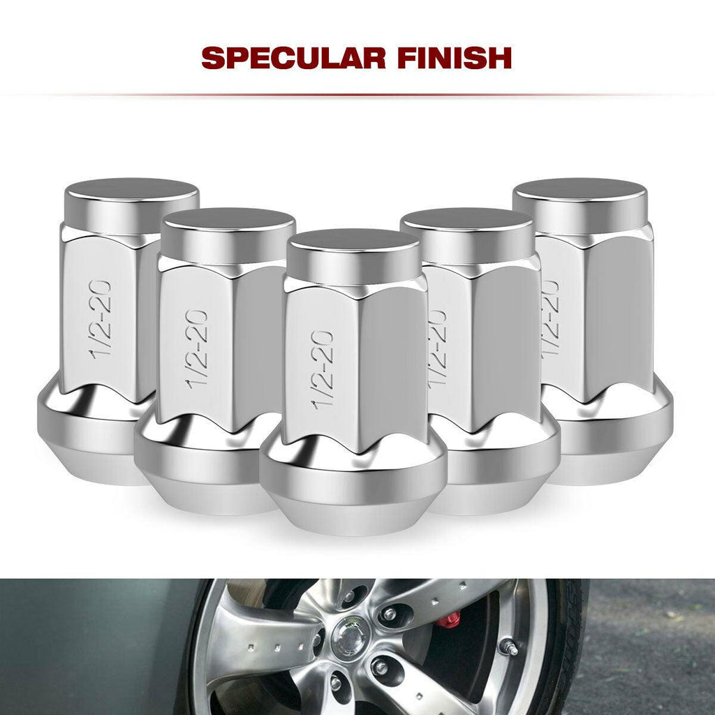 Buyer Needs to Review The spec 20pcs 1.87 Chrome 1//2-20 UNF Wheel Lug Nuts fit 1990 Dodge Ramcharger May Fit OEM Rims