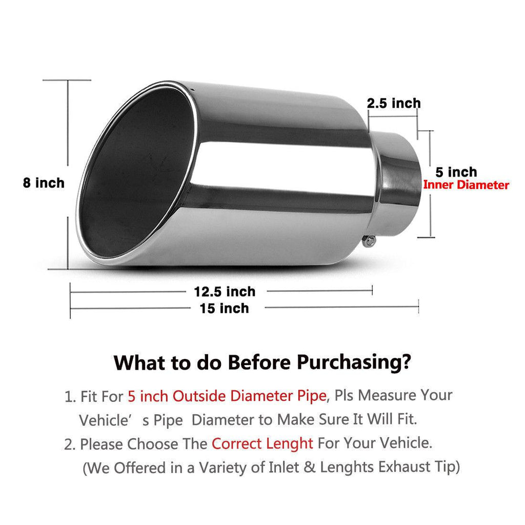 "8/"" Outlet 5/"" Inlet Chrome Stainless Steel 15/"" Long Bolt On Diesel Exhaust Tip"