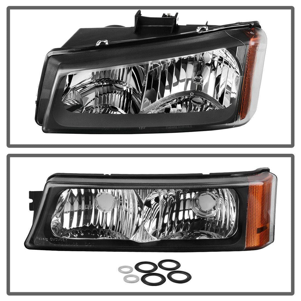 Headlight Assembly For 03-07 Chevy Silverado 1500HD/ 03-06 Chevy Silverado 2500HD/ 03-06 Chevy Avalanche Black Housing with Front Signal Lights - YITAMotor