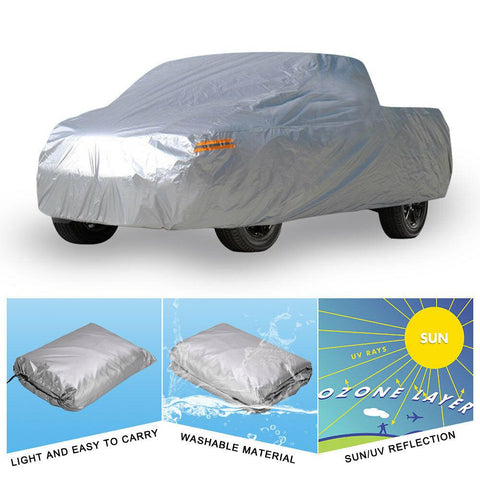 "All Weather Protection Waterproof Pickup Truck Cover (Fit up to 264"" L, Silver) Universal Fit Breathable Rain Sun Snow Dustproof Outdoor - YITAMotor"