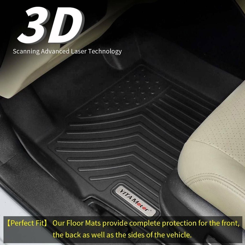 Floor Mats Liners For 2017-2019 Ford F-250/F-350 Super Duty Crew Cab, 1st & 2nd Row All Weather Protection - YITAMotor