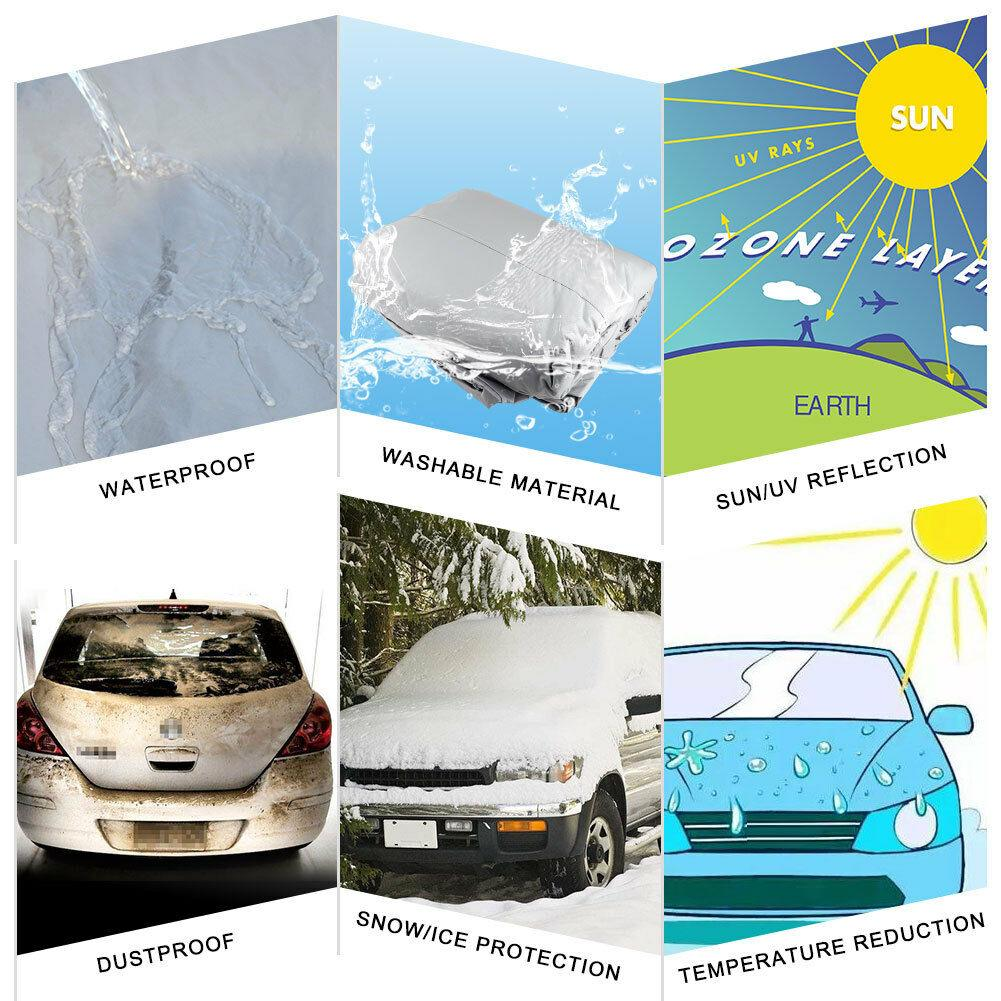 Universal fit Full Exterior Cover up to 177 inch, All Weather Waterproof Car Cover, Full Car Cover for Sedans Windproof Heat Resistant Breathable - YITAMotor