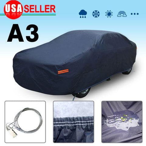 Full Car Cover Blue Waterproof Universal Fit Rain UV Dust Resistant Protection - YITAMotor