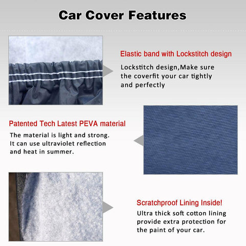 "Fit SUV Cars up to 188"" L (PEVA, Dark Blue) SUV Car Cover, Durable Waterproof All Weather Snow Dust Rain Resist Outdoor Full Protection - YITAMotor"