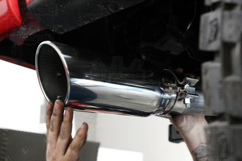 "3"" Inlet 4"" Outlet 12inch Long Bolt On Chrome Stainless Steel Diesel Exhaust Tip - YITAMotor"