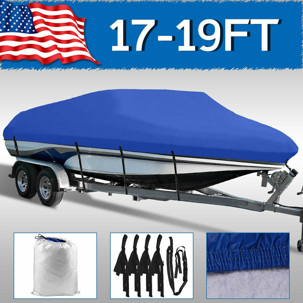 17' 18' 19' Heavy Duty Non-Abrasive Lining Waterproof Boat Cover Blue Pontoon Trailerable Beam 95'' - YITAMotor