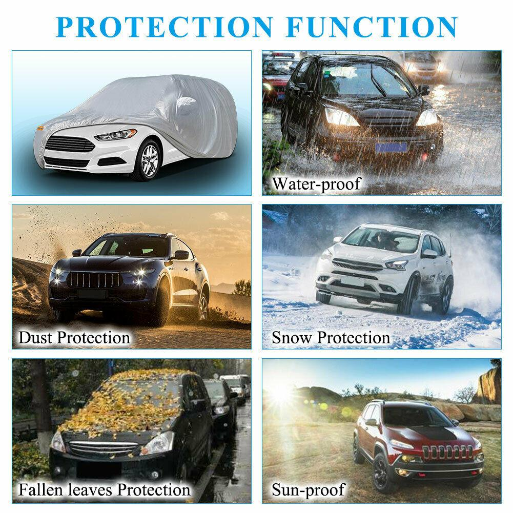 Fit Cars up to 200 inches Car Cover, Full Car Cover Waterproof UV Rain Snow Dust Heat Scratch Resistant Protection US - YITAMotor