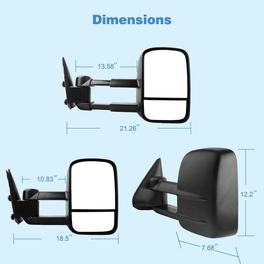 For 99-07 Chevy Silverado GMC Sierra 2000-2006 Chevy Tahoe Suburban 1500 2500 GMC Yukon XL Truck Manual Towing Mirrors - YITAMotor