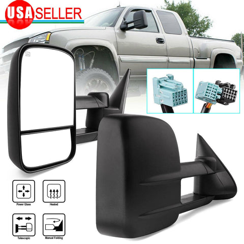 For 03-06 Chevy Silverado GMC Sierra Power Heated 07 Classic Tow Mirrors - YITAMotor