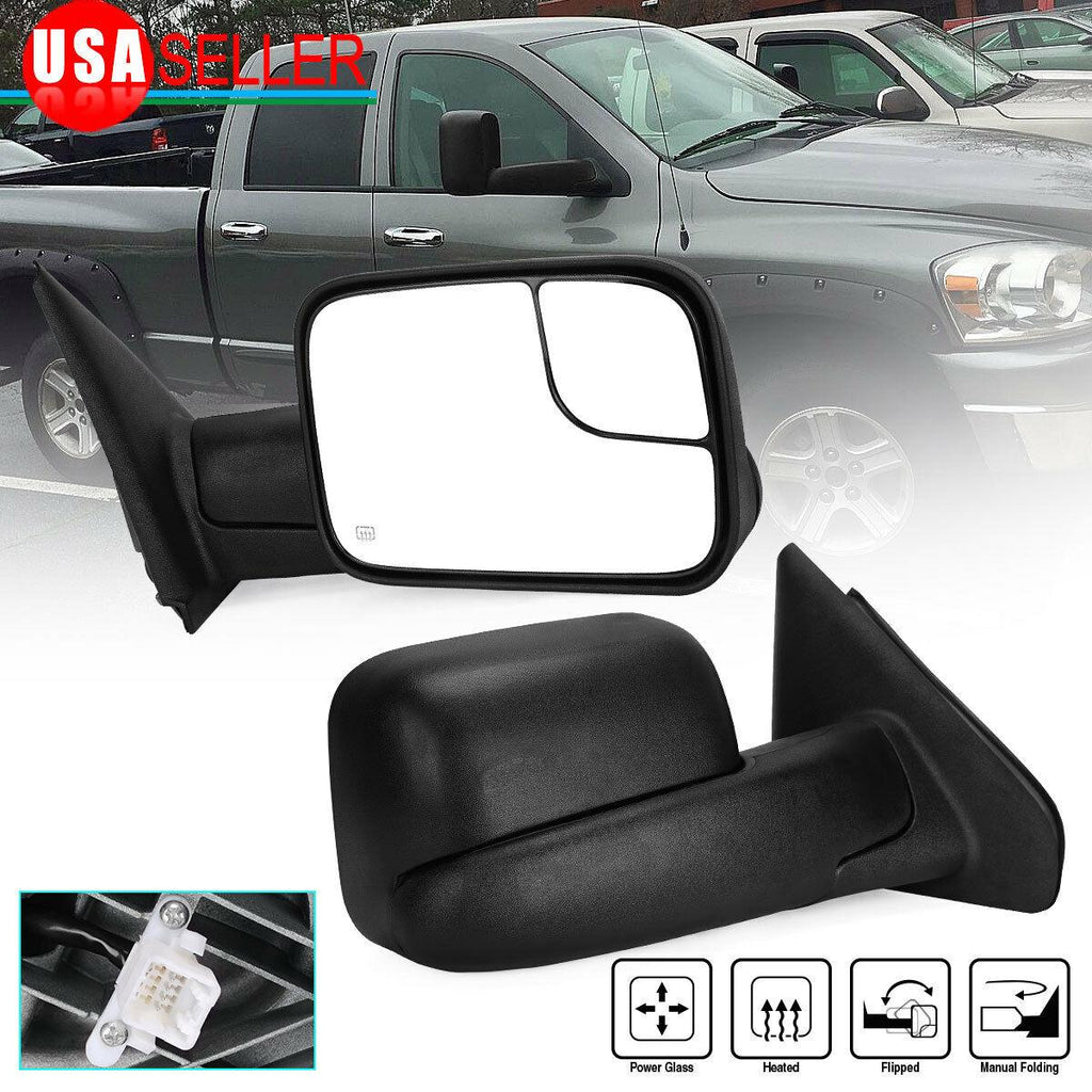 For 02-08 RAM 1500 03-09 2500 3500 Power Heated Passenger Right Side Tow Mirror - YITAMotor