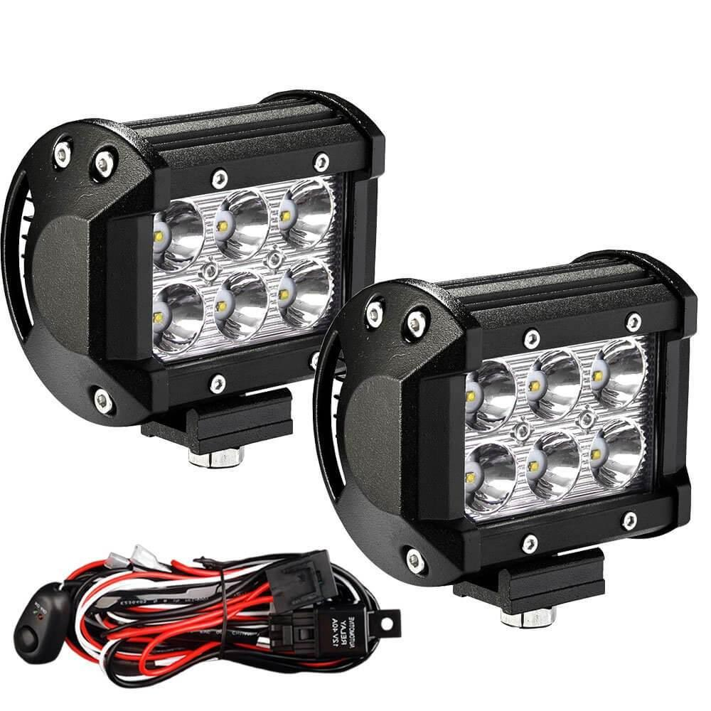 Excellent 4 Inch 18W Square Led Work Light 2Pcs With Wiring Harness Wiring 101 Archstreekradiomeanderfmnl