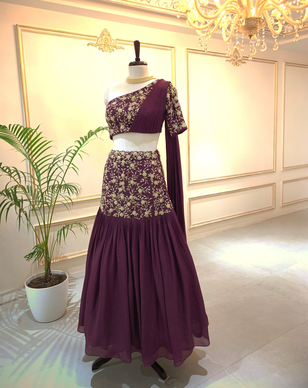 One shoulder Lehenga with attached Dupatta