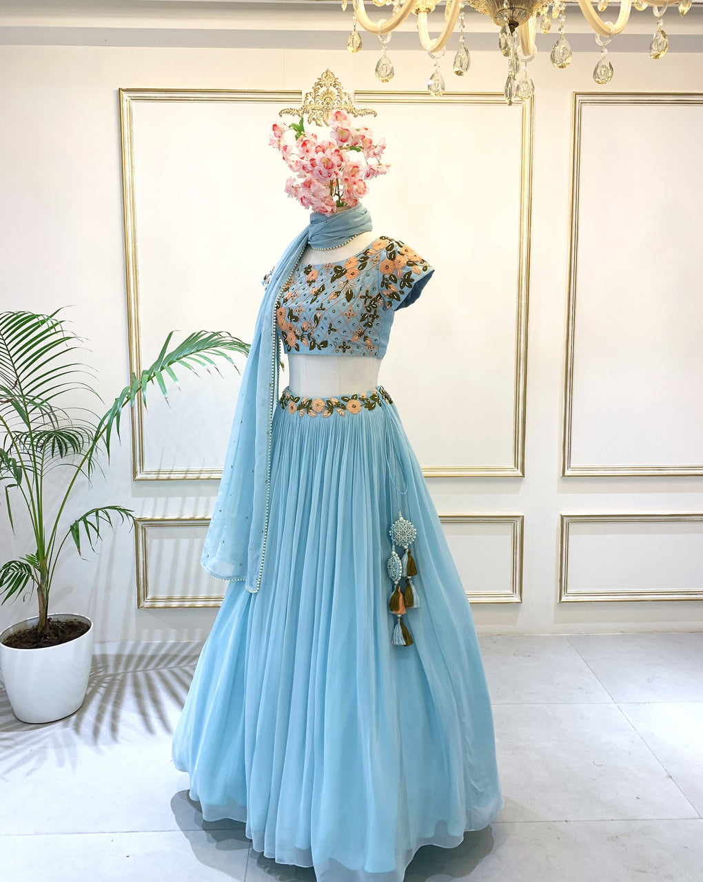 Aqua Blue with Peach flowers Lehenga