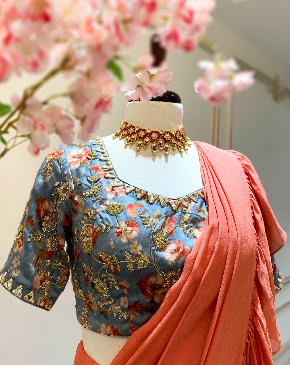 Floral print blouse with pre-draped ruffle Saree