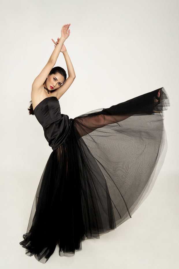 Black Corset Evening Gown