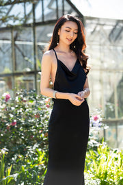 COWL NECK LONG BIAS DRESS