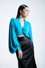 Bell Sleeves Wrapped Blouse