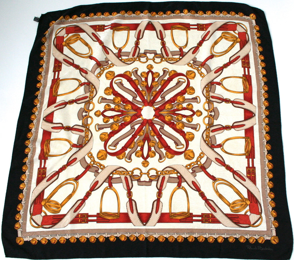 Renato Balestra vintage silk scarf - Harnesses and sleigh bells