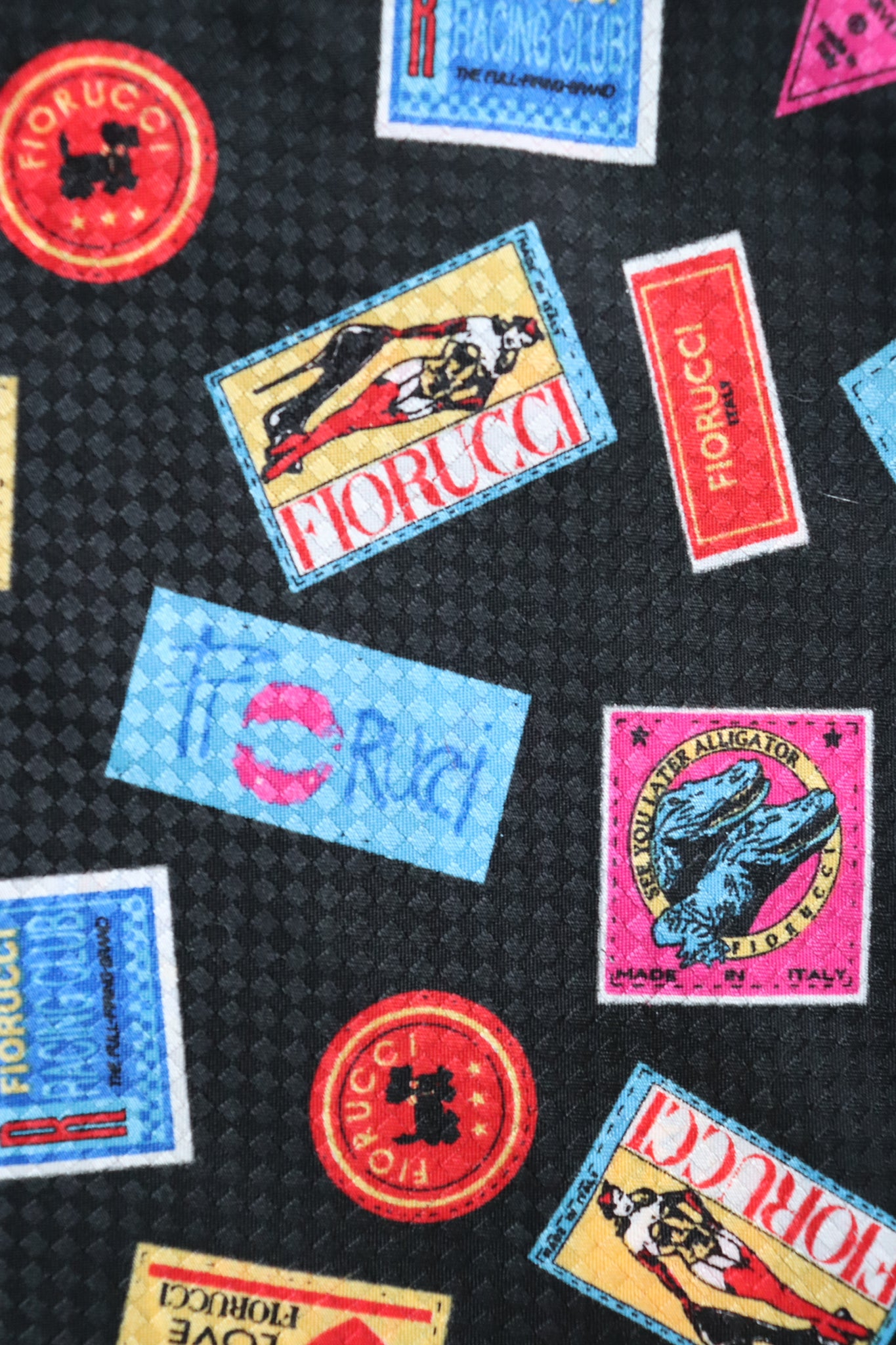 FIORUCCI Silk Scarf  - Vintage Stickers  Print - LONG