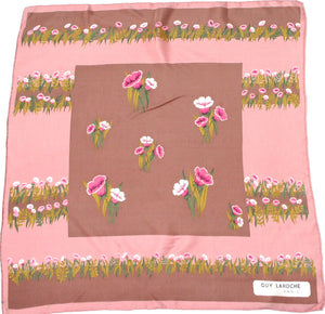 Guy Laroche 70s pink / brown floral silk scarf