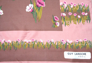 Guy Laroche 70s pink / brown floral silk scarf - Small