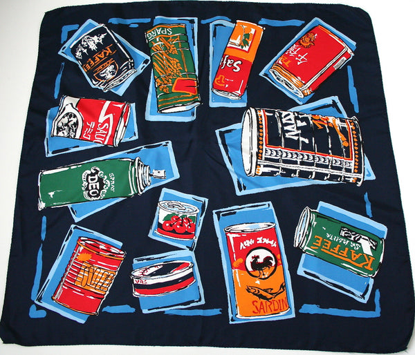 Pop Art 'Household Tins' vintage silk scarf