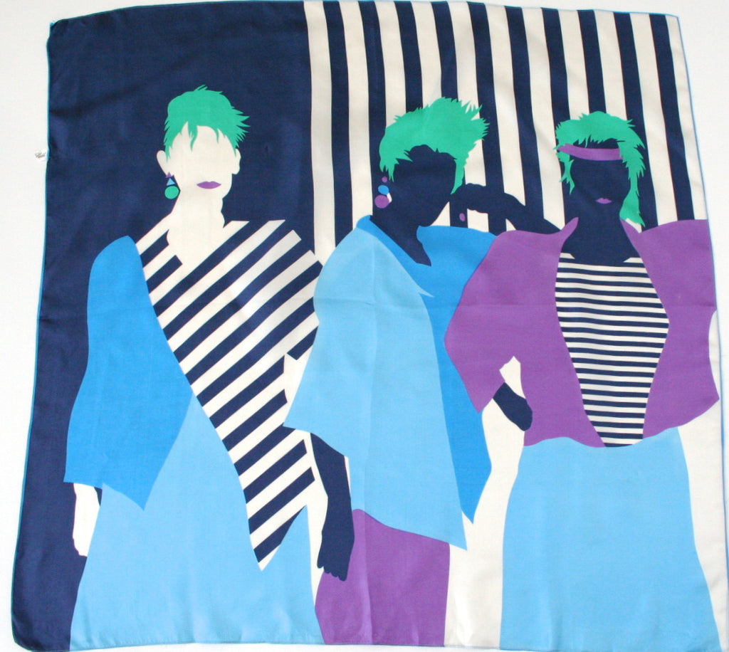 'Three green Haired Girls' 80s graphic print silk scarf