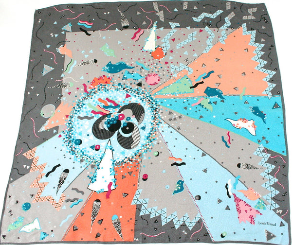 Louis Feraud - Abstract 'Psychedelic Explosion' print silk scarf