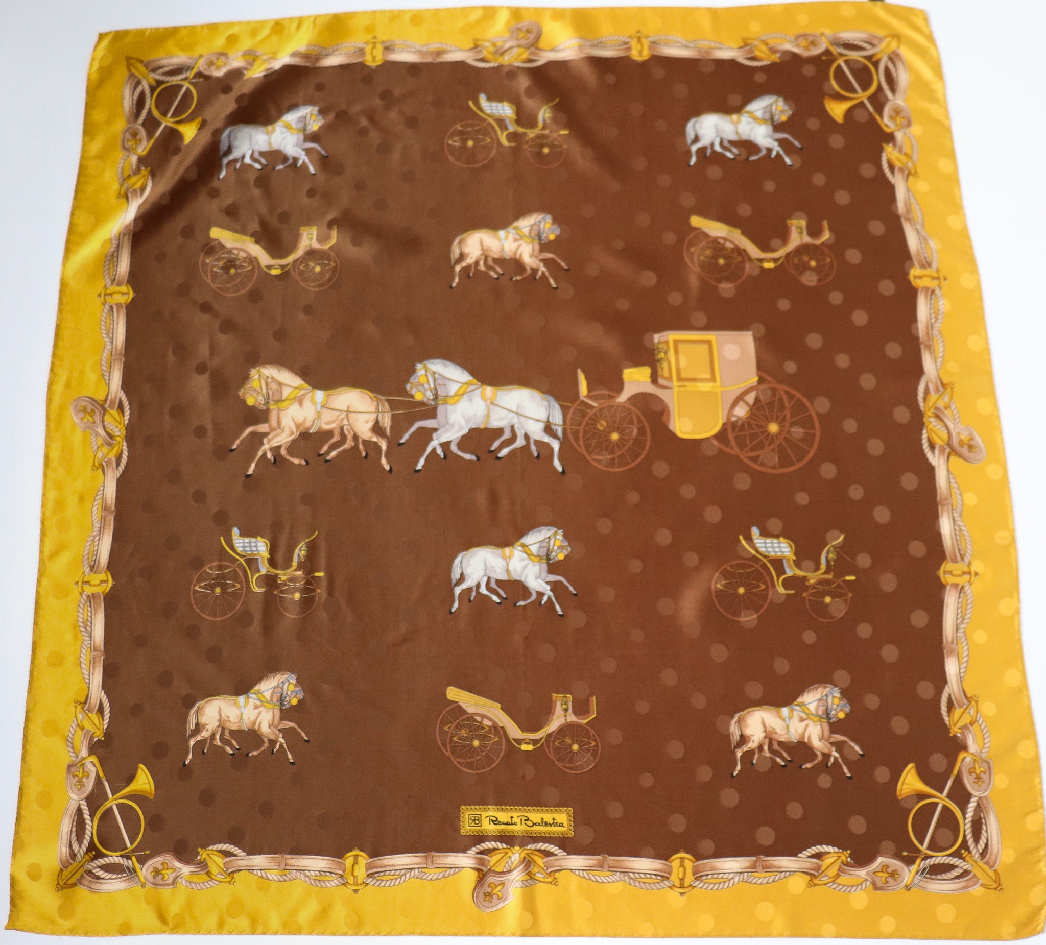 Renato Balestra Vintage Silk Scarf - Brown / Gold Horses and Carriages  - LARGE