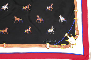 GABRIELLE Vintage Silk Scarf - 1970s - Chariot Horses - LARGE