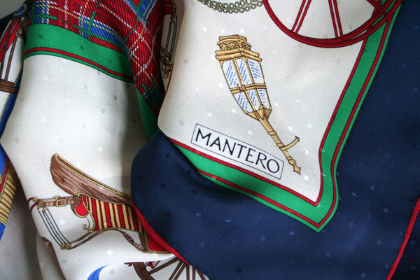 Mantero - 'Horse draw carriages' and plaid print vintage silk scarf - L