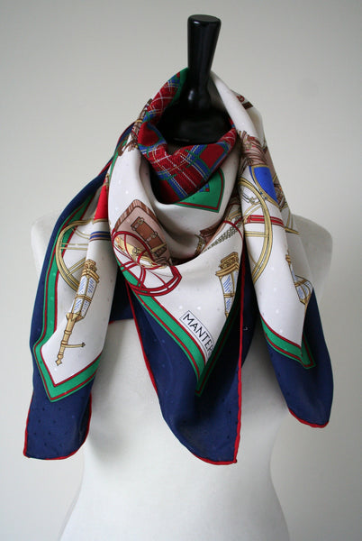 Mantero - 'Horse draw carriages' and plaid print vintage silk scarf