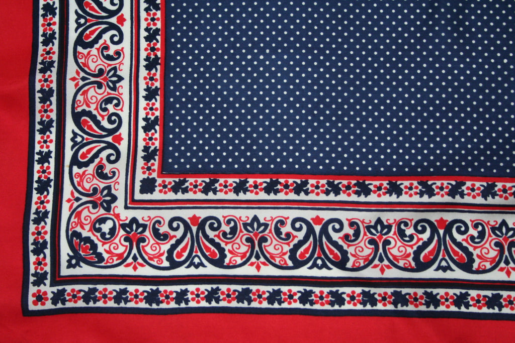Red and navy blue spotted paisley border silk scarf