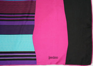 Loredano - 1980s Fashion Graphic Art Silk Scarf - Medium