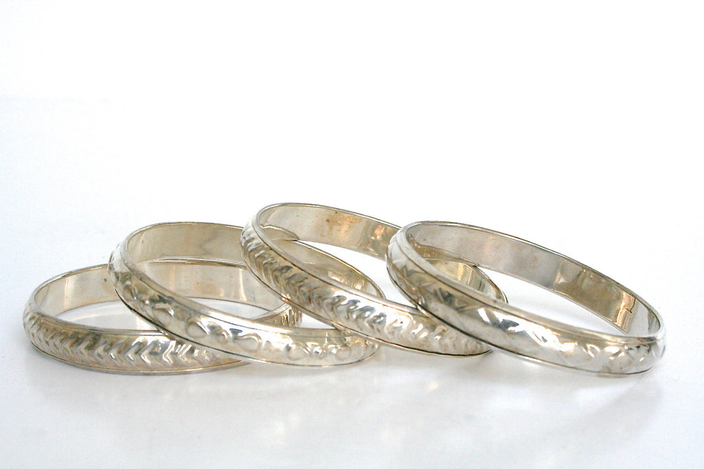 Set of 2 slim 80s metal bangles - Brass /Silver