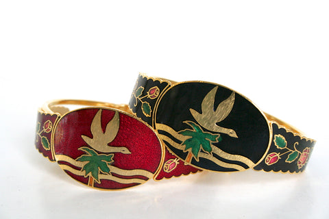 80s Cloisonne enamel and gold vintage bangle - Red/Black