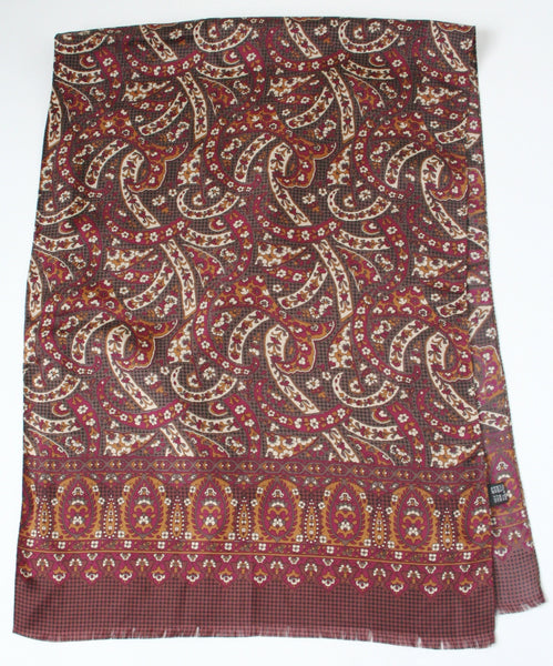 80s paisley print long vintage silk scarf