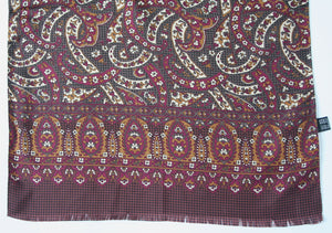 80s paisley print long vintage silk scarf - Long