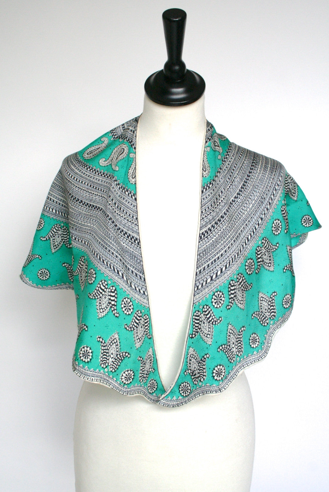 50s green paisley vintage silk collar scarf