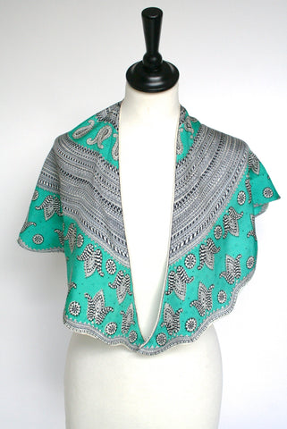 50s green paisley vintage silk collar scarf - M