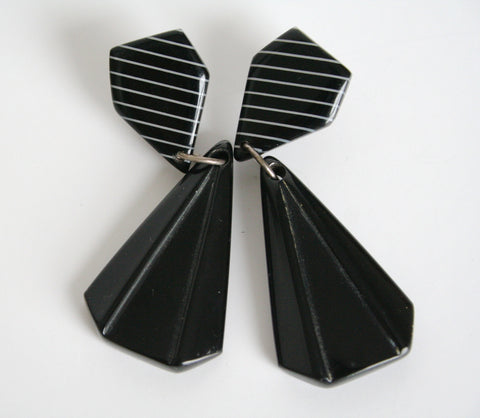 50s black pendant vintage earrings