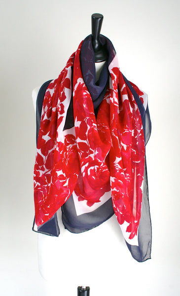 Red Roses /Navy blue vintage silk shawl - Large