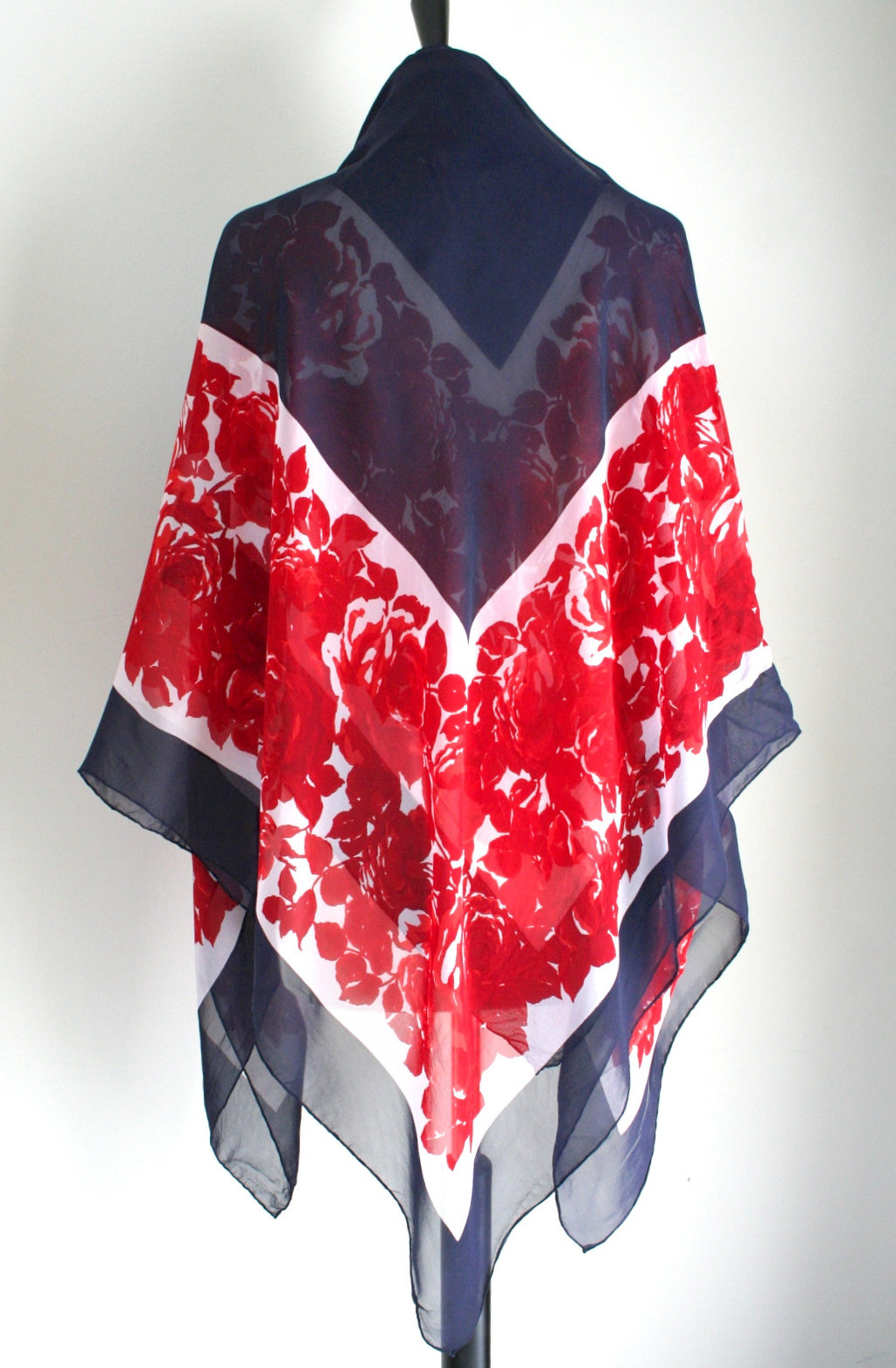 Red Roses /Navy blue vintage silk shawl
