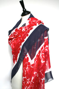 Red roses navy blue vintage silk shawl - Large