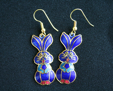 Cloisonne 'Bunny Rabbit' vintage earrings